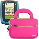 Evecase LeapFrog LeapPad Glo / LeapPad 3 Kids Learning Tablet Neoprene Sleeve Case, Slim Briefcase w/ Handle & Accessory Pocket / Ultra Portable Travel Carrying Portfolio Pouch Cover - Hot Pink