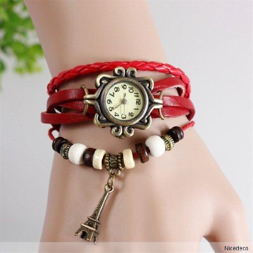 Nicedeco - Red,Fashion Accessories Trial Order Quartz Weave Wrap Around Leather Bracelet Lady Woman Wrist Watch, Eiffel Tower Pendant