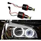 Autolizer H8 40W CREE LED Angel Eye Halo Ring Bulbs 6000K Xenon White BMW Headlights Lamps Marker for BMW E60 E61 E90 E92 E70 E71 E82 E89 1 3 5 X5 X6 Z4 (Black) (Tamaño: 40W)