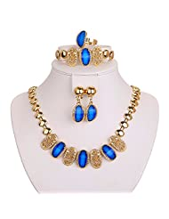 Silver Shoppee Exuberant Crystal And Cubic Zirconia Studded 18K Yellow Gold Plated Alloy Jewellery Set