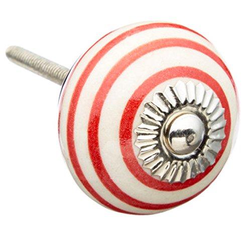 Red Strips Ceramic Dresser Drawer, Door, Cabinet Knob Pull (Striped Dresser Knobs compare prices)