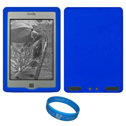 Blue Premium Soft Rubberized Protective Silicone Skin Cover For Amazon Kindle Touch 3G / Kindle Touch Wifi 6-Inch E Ink Display E-Reader + Sumaclife Tm Wisdom Courage Wristband