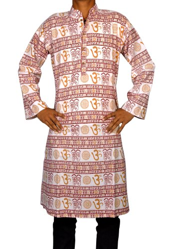 Casual Cotton Hand Block Printed Long Mens Kurta Size-XXL