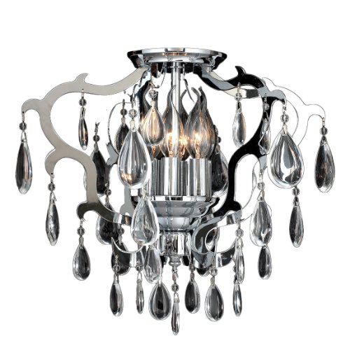 Worldwide Lighting W33130C16 Henna 6 Light With Clear Crystal Ceiling Light, Chrome Finish