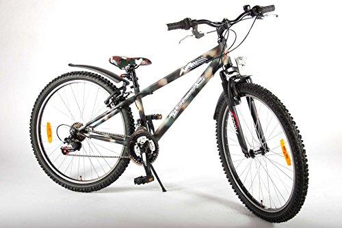 Bicicleta para niños 26 pulgadas 9 10 11 12 años Shimano 18 velocidades freno de aleación de V delantero y trasero suspensión zoom verde militar
