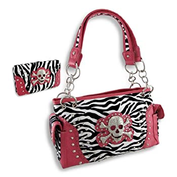 b726e94b94a Cheap Check Price for Fuzzy Studded Zebra Print Concealed Carry Purse and  Wallet w Rhinestone Skull