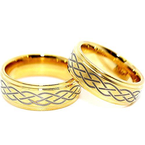 Matching 8Mm Golden Colored Celtic Criss Cross Wedding Band Set (Us Sizes 5-17)