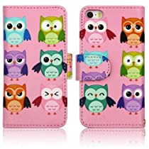 Pink Camo Cute OWLS Birds Faux Leather Wallet Purse clutch Handbag Apple iPhone 5 5s Case Cover with Clear Slot for ID, Credit Card Slots and Hidden Slot for Cash
