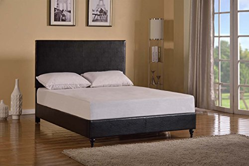 Home Life Black Leather Platform Bed with Slats Queen - Complete Bed 5 Year Warranty Included (Bed Frames compare prices)