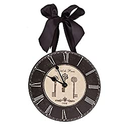 French Inspired Hotel De Paris w/Keys Wall Clock with Ribbon - 8 Inch