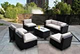 Genuine Ohana Outdoor Patio Sofa Sectional Wicker Furniture 7pc All Weather Couch Set with Free Patio Cover