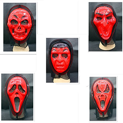 [Skue Scary Ghost Masks Red Devil Scream Mask Costume Party 5 pcs] (Red Devil Scream Queens Costume)