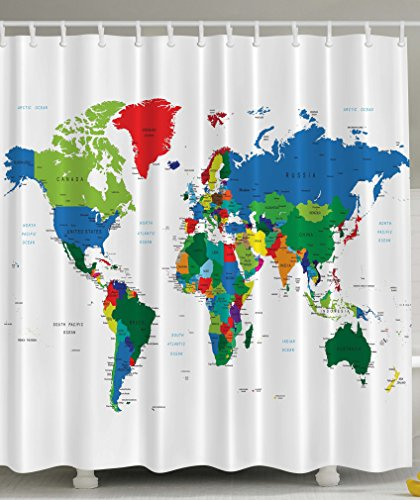 Ambesonne World Map Geologist Gifts Educational Geographical Earth Journeys Voyager Novelty Modern Home Designer Bath Accessories High Quality Fabric Shower Curtain, Green Blue Red White