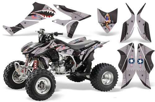 2004-2015-Honda-TRX450R-AMRRACING-ATV-Graphics-Decal-Kit-P40-WarHawk-Black-Silver