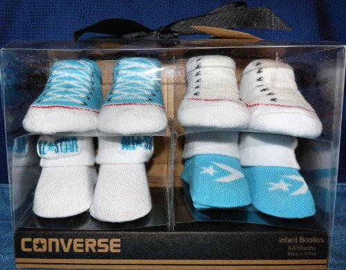 Converse Infant Baby Booties Socks, Turquoise & White, 0-6 Month, 4 Pairs.