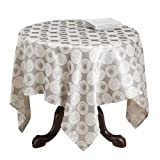 SARO LIFESTYLE 2145 Milano Design Square Tablecloth, 84-Inch, Taupe