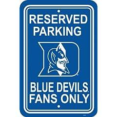 Buy NCAA Duke Blue Devils 12-by-18 inch Plastic Parking Sign by BSI