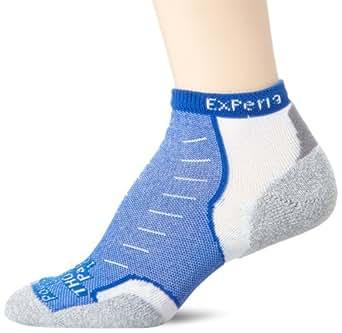 Thorlo Unisex Experia CoolMax Micro Mini Crew Sock, White/ Royal, X-Small