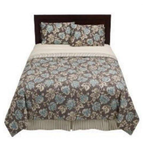Home Queen Bed Comforter Set Blue Brown Floral Shams Skirt front-934911