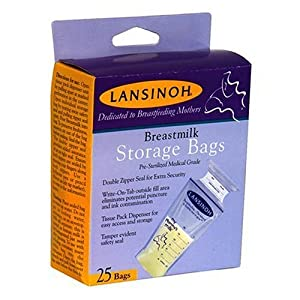 Lansinoh breast milk storage bags holds upto 6 oz milk - 25 bags