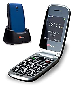 TTfone Pluto Big Button Clamshell Flip Unlocked UK Sim Free Mobile Phone - Blue