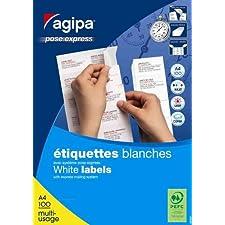 AGIPA Lot de 10 Boites 3000 étiquettes 70x29,7 mm (30 sur 100F A4) Multi-usage Coins Droit Permanent Blanc