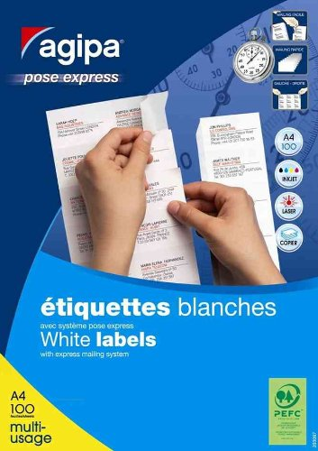 AGIPA Bte 4000 étiquette 52,5x21,2 mm (40 x 100F A4) Multi-usage Coin Droit Permanent Blanc