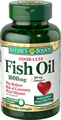 Nature's Bounty Omega-3 Fish Oil, Odorless, 1000mg, 100 Softgels (Pack of 2)