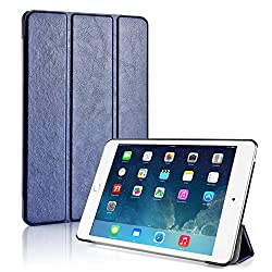 TNP iPad Mini 4 Case (Dark Blue) - Ultra Slim Lightweight Folio Smart Cover Stand with Auto Sleep Wake Feature and Hard Rubberized Back for Apple iPad Mini 4 7.9 Inch Tablet 2015 Release