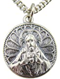 Silver Tone 7/8-Inch Scapular Sacred Heart Jesus Our Lady of Mt Carmel Medal