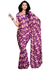 Diva Fashion Silk Saree With Ikat Inspired Print Purple Saree