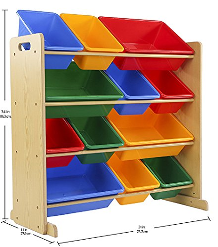 Tot Tutors Kids Toy Storage Organizer with 12 Plastic Bins, Natural/Primary (Primary Collection)