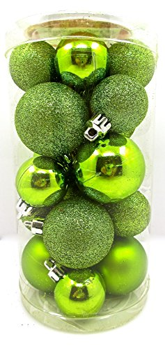 Holiday Time Mini Ornament Set,shatterproof Shiny Bulbs with Glitter,20x (Lime Green)