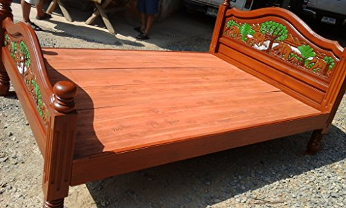 Video Review Modern King Queen Size Carving Solid Teak