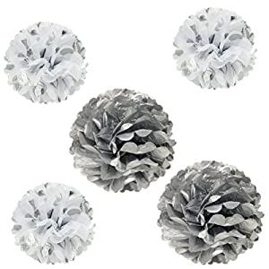 Allydrew 12 & 8 Set of 5 Tissue Pom Poms Party Decorations for Weddings, Birthday Parties Baby Showers and Nursery Dcor, Silver & Polka Dots by AllyDrew