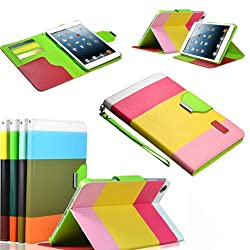 Gioiabazar Apple iPad Air Leather Flip Designer Stripe Wallet Case Cover Pouch Table Talk New Yellow
