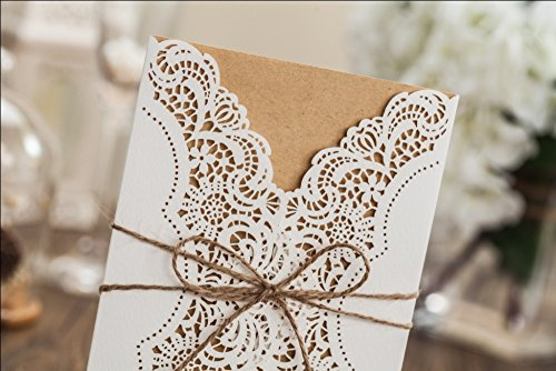 Wishmade 50x Rustic Laser Cut Lace Sleeve Wedding Invitations Cards Kits for Engagement Bridal Shower Baby Shower Birthday Graduation Cardstock with Hollow Favors Rustic Envelope(Set of 50pcs) 3