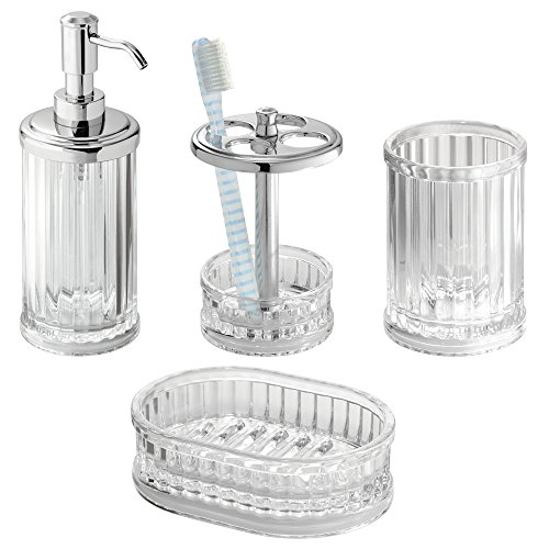 Mdesign acrylic bath accessory set soap dispenser pump for Bathroom accessories acrylic