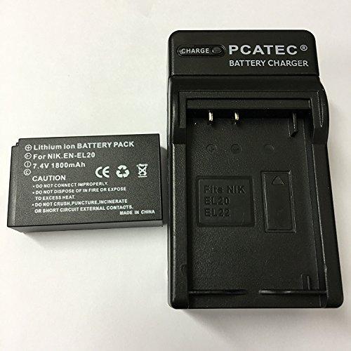 PCATEC NIKON EN-EL20対応互換バッテリー&急速充電器セットNikon 1 J1/J2/J3/S1 /AW1/V3