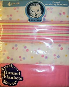 "Flannel Receiving Blankets - 4 Pack - 30"" X 30"""