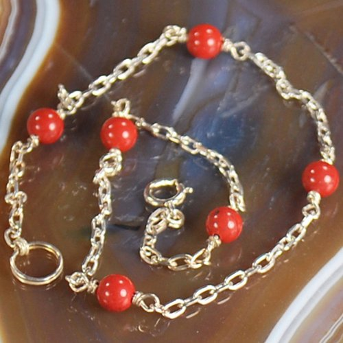 Simple w Natural Sea Coral Beads ~Sterling Silver ANKLET~~ N2_0711_18