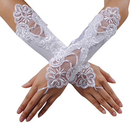 Yonger Women's Lace Wedding Lace Fingerless Satin Gloves for Bride Evening Party