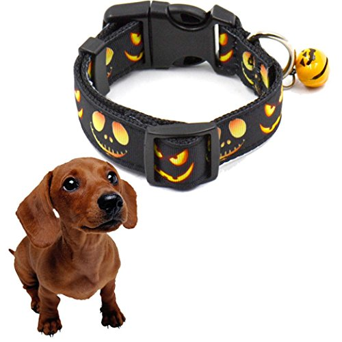Tenworld Halloween Pet Dog Cat Collars Pumpkin Print Puppy Dog Bell Collar Festival Dog Decor (Summer Deco Extra Tall compare prices)