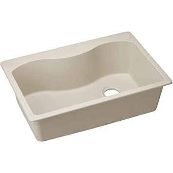 "Elkay ELGS3322RPT0 Granite 33"" x 22"" x 9.5"" Single Bowl Top Mount Kitchen Sink, Putty"