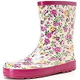 Hellozebra 子供用レインブーツ 磁器風長靴 - 高品質の天然ゴム製,軽量,快適,耐滑 18.0cm ピンク