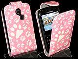 Goldstar® Flower PU Leather Flip Case Cover For Various Samsung Models, Galaxy Ace, S2, S3 Mini, Chat (Pink Paw, Cha@t335 Chat S3350)