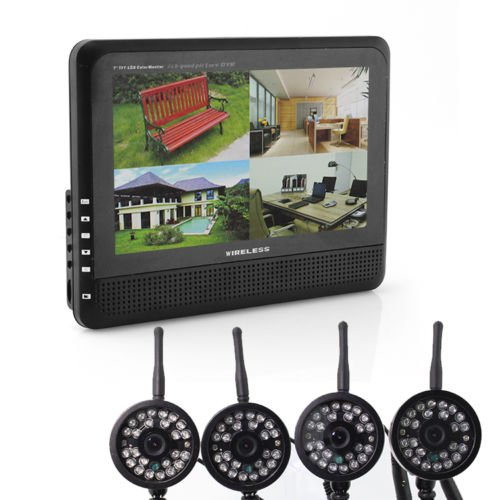 """Great Deal 4 Ch Quad Dvr 4 Cameras With 7"""" Tft-Lcd Monitor Home Security System"""