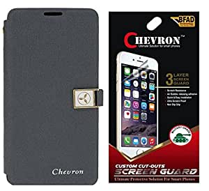 Chevron Royal Armour Flip Cover With Stand Mode for Lenovo A7000 with HD Screen Guard (Grey)