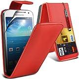 (Red) Samsung Galaxy S4 Mini i9190 Custom Designed Stilvolle Accessoires zur Auswahl Schutzmaßnahmen Kunst Credit / Debit-Karten-Leder Flip Case Hülle, Retractable Touch Screen Stylus Pen & LCD-Display Schutzfolie von Hülle Spyrox