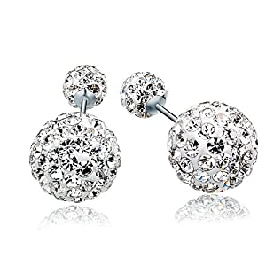 double boucles d 39 oreilles boule cristal shamballa en argent bijoux. Black Bedroom Furniture Sets. Home Design Ideas